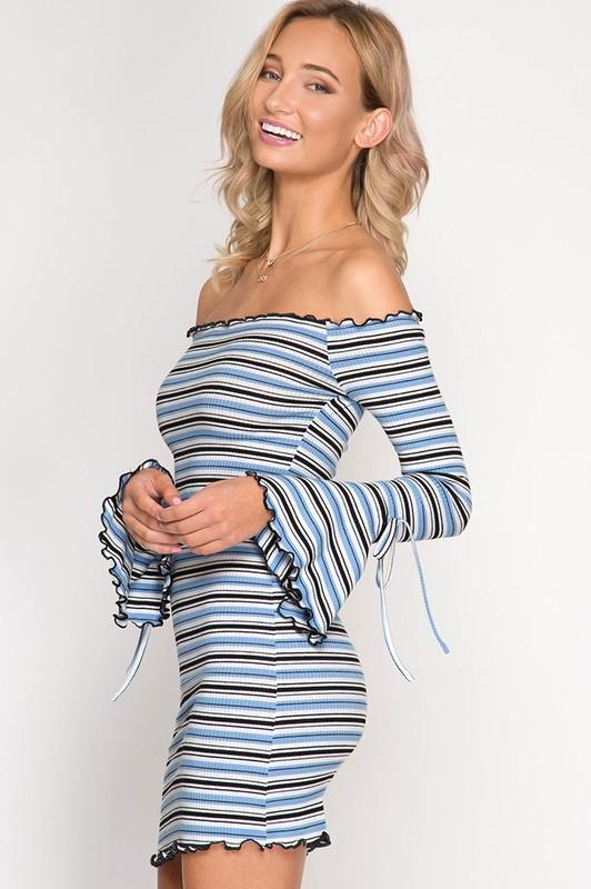 OFF SHOULDER LONG SLEEVE BELL DETAIL DRESS (Available in two colors)