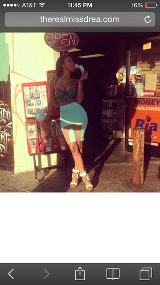 skirt mint skirt bodycon skirt pencil skirt mesh panel