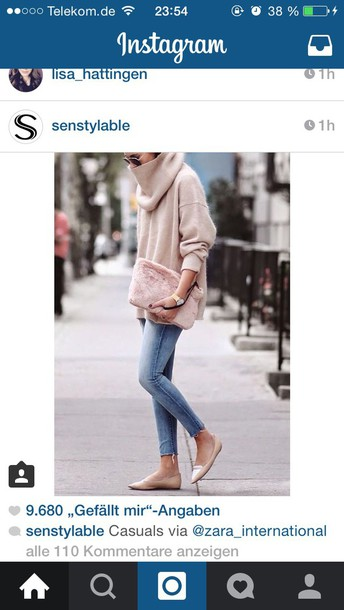 sweater rose power zara jeans