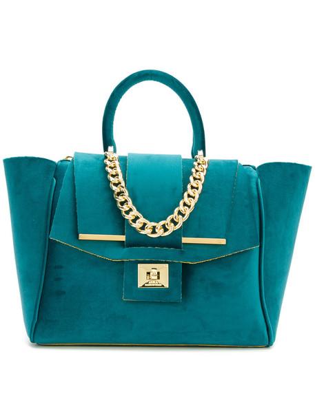Alila women bag tote bag blue velvet neoprene