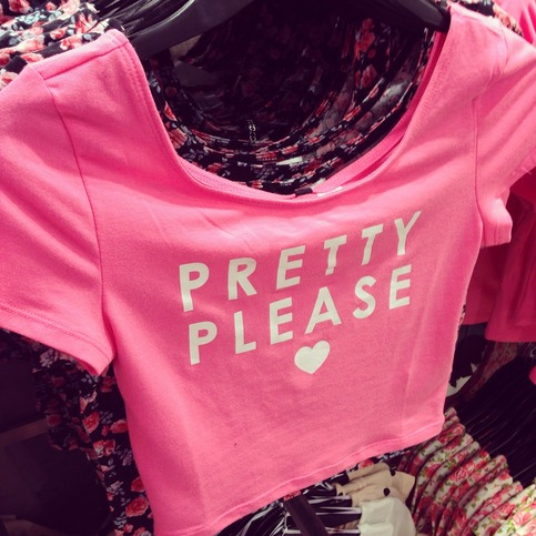 "H&m pink ""pretty please"" crop top from ophelia owl on storenvy"