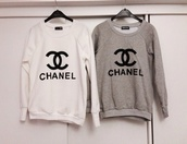 sweater,chanel inspired,chanel,chanelsweater,grey,grey sweater,white,whitesweater,cc,pull,gris,blanc,sweatshirt,weheartit,fashion,style,cute,love,beautiful,winter outfits,shirt