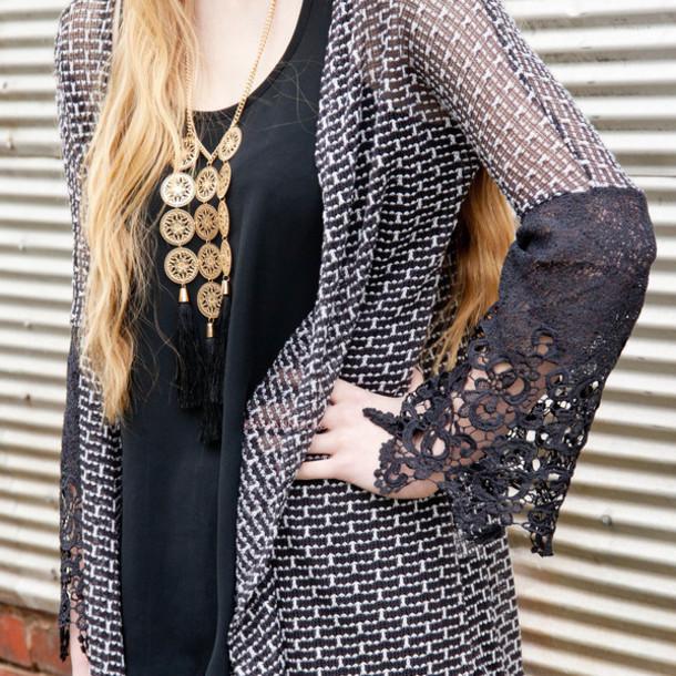 jewels necklace long necklace tassel black gold amazinglace.com