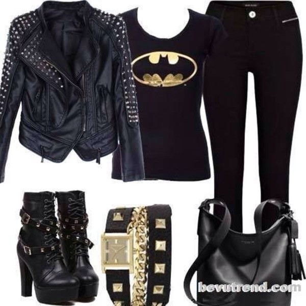 jacket batman belt pants boots jeans shirt bag shoes