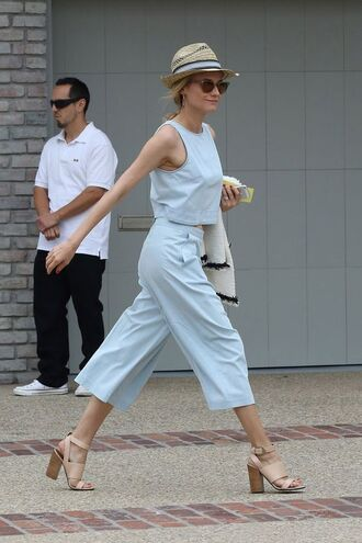 top blue crop top crop tops summer top pants palazzo pants blue pants summer outfits preppy sandals high heel sandals nude sandals hat straw hat sunglasses diane kruger celebrity style celebrity all blue outfit all blue