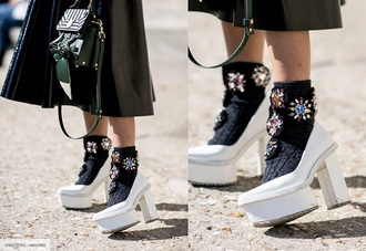 shoes white heels chuncky boots streetstyle pfw