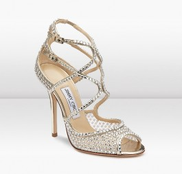 Beautiful Wedding Shoes Jimmy Choo Falcon Ivory Crystal Mesh Sandals for Sale 2014