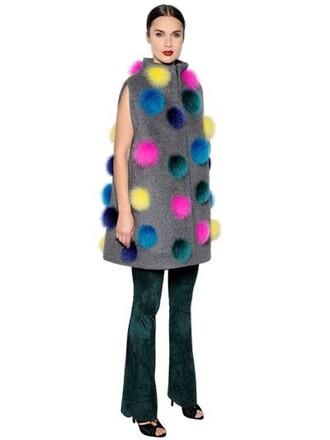 vest fur fox mohair wool grey jacket