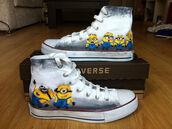 shoes,minions,converse,custom shoes,high top converse,minion converse,painted shoes,toms