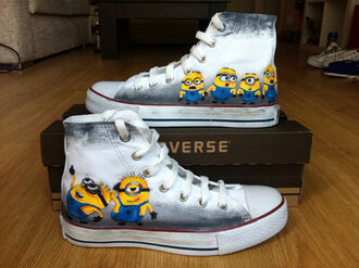shoes minions converse custom shoes high top converse minion converse painted shoes toms