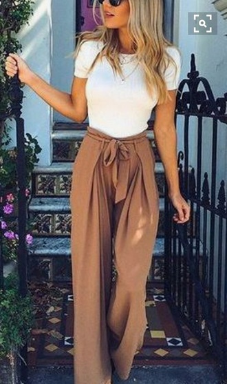 pants high waisted tan wide-leg pants flowy