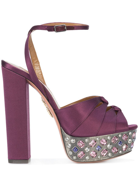 women embellished sandals platform sandals leather purple pink satin shoes