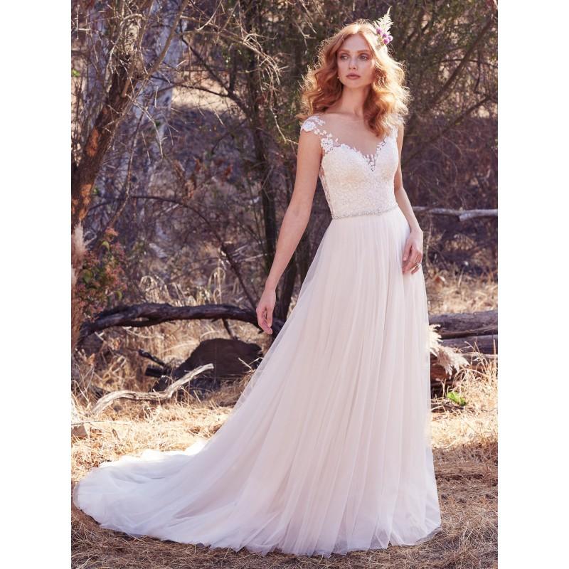 Maggie Sottero Fall/Winter 2017 Sonja Sweet Ivory Chapel Train Aline Cap Sleeves Illusion Tulle Appliques Wedding Dress - Bonny Evening Dresses Online