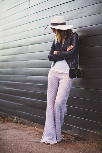late afternoon blogger hat polka dots 70s style wide-leg pants perfecto