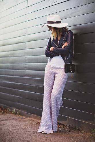 late afternoon blogger hat polka dots 70s style wide-leg pants perfecto jacket t-shirt pants sunglasses bag shoes