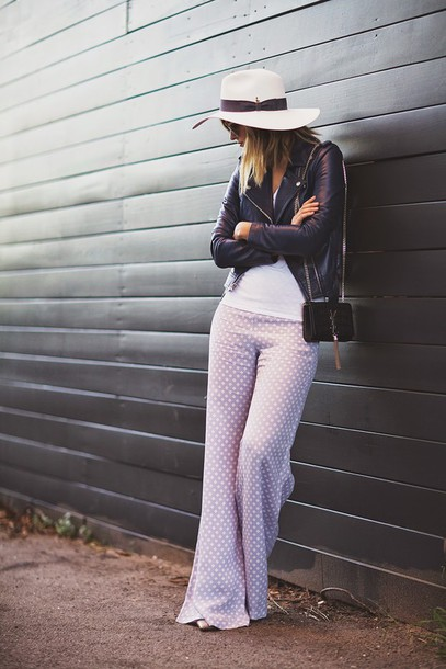 late afternoon blogger hat polka dots 70s style wide-leg pants perfecto jacket t-shirt pants sunglasses bag shoes