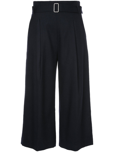 cropped high women blue wool pants
