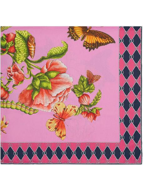 gucci women scarf silk scarf print silk purple pink