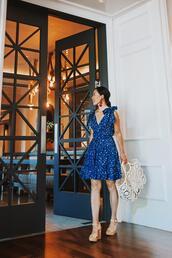 hallie daily,blogger,dress,shoes,bag,jewels,blue dress,summer outfits,sandals,high heel sandals