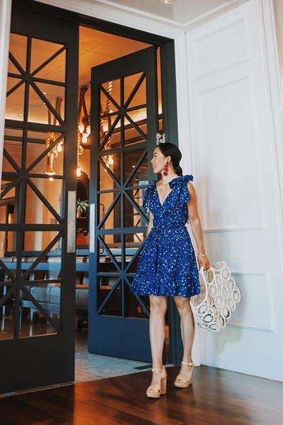 8d995e1be8 hallie daily blogger dress shoes bag jewels blue dress summer outfits  sandals high heel sandals