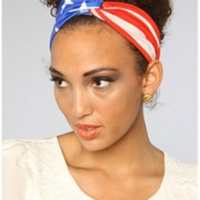 red scarf headband american flag blue scarf red