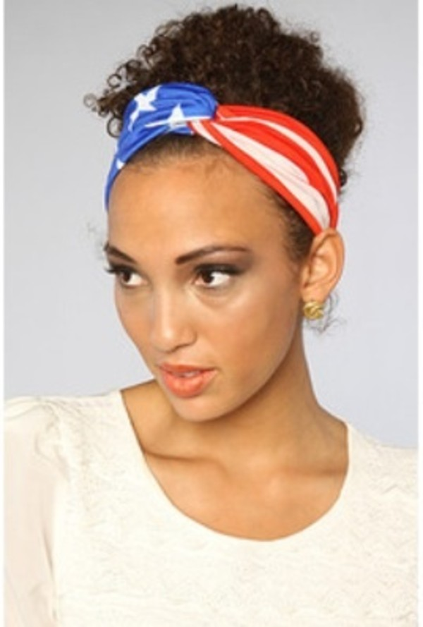 scarf american flag red blue headband hair accessory american flag bandana american flag headband