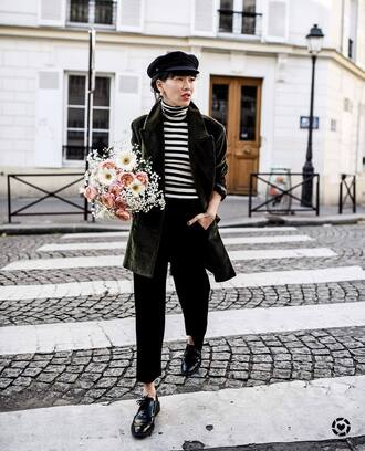 coat tumblr green coat hat fisherman cap shoes black shoes top stripes striped top flowers turtleneck striped turtleneck pants black pants