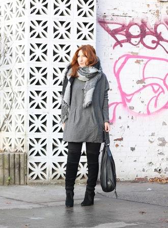 tf diaries blogger sweater pants shoes scarf bag grey dress mini dress handbag black bag boots knee high boots
