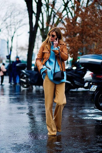 sweater blue sweater turtleneck pants nude pants jacket nude jacket turtleneck sweater wide-leg pants streetstyle