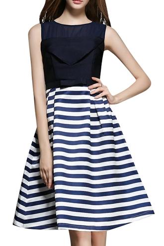dress stripe spliced a line stripe spliced a line midi sundress