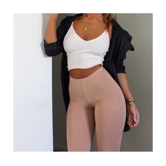 blouse leggings high waist high waisted high waisted leggings beige cream tights jacket crop crop tops top crop tank tank tank top necklace bracelets streetwear tumblr style hipster windbreaker abs coolg girl outfit fashion jewelry