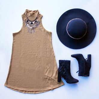 dress rib ribbed dress ribbed camel ootd ootn girls night fringes booties hat necklace statement necklace gojane