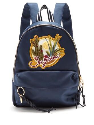cactus backpack satin navy bag