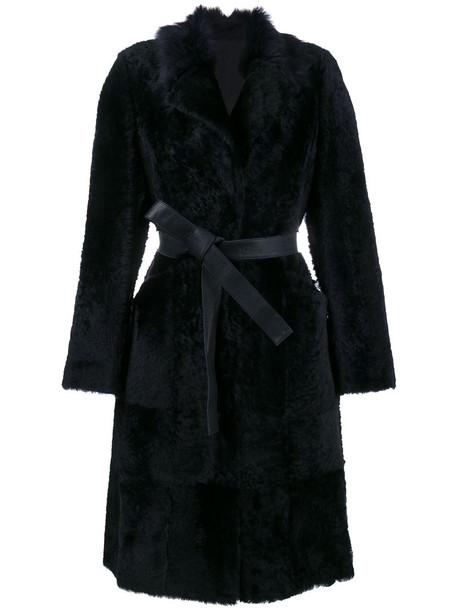 Yves Salomon coat fur women leather blue