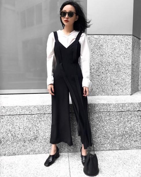 93a8aa12ac74 jumpsuit tumblr black jumpsuit cropped jumpsuit shoes black shoes bag black  bag bucket bag sunglasses shirt