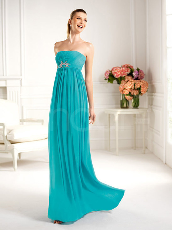 dress floor length chiffon dress sleeveless and strapless empire waistline and have beadings