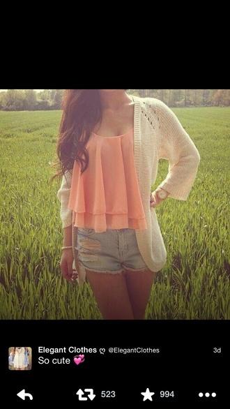blouse tank top peach ruffle cardigan cream