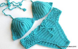 swimwear crochet crochet bikini handmade summer turquoise bikini 2015 summer bikiniset 2015 crochet trends swimwear 2015