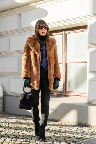 coat tumblr camel camel coat teddy bear coat gloves leather gloves denim jeans black jeans boots black boots bag black bag sunglasses
