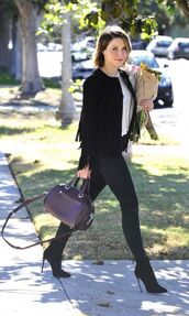 jacket,fringes,fringed jacket,sophia bush,ankle boots,skinny jeans,jeans,fall outfits,bag,purse