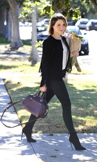 jacket fringes fringed jacket sophia bush ankle boots skinny jeans jeans fall outfits bag purse