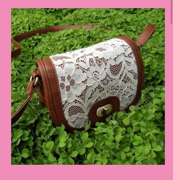 bag brown bag lace up handbag