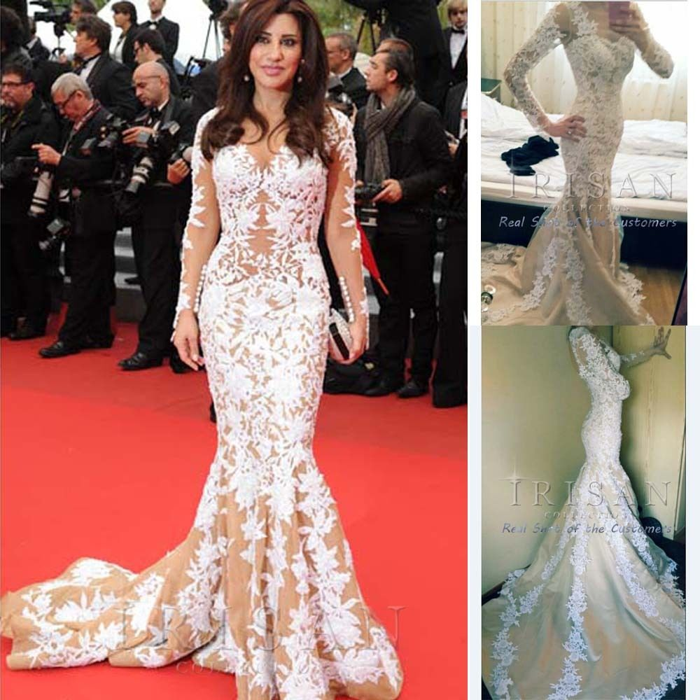 IRISAN Classic Cannes Film White Lace Applique Evening Gown Celebrity Long Dress