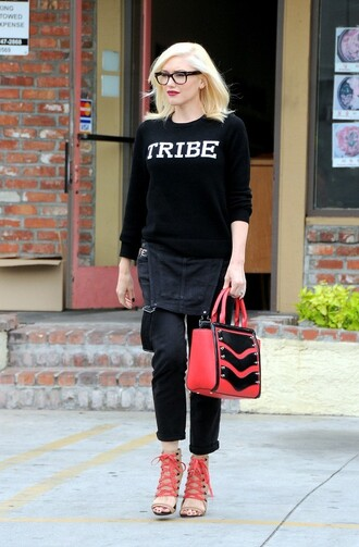 gwen stefani sweater shoes jeans tribe quote on it overalls chevron high heels
