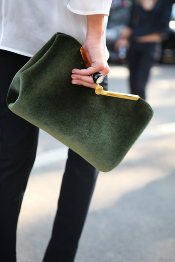 bag suede bag green purse velvet clutch velvet bag green bag