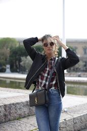 lady addict,blogger,jeans,shirt,shoes,sunglasses,bag,ysl,ysl bag,tiles,bomber jacket,denim,pants