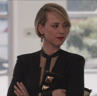 blouse nude silk black blazer revenge drop earrings margaux lemarchal karine vanasse jacket jewels
