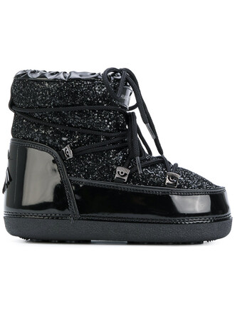 boot glitter women moon cotton black wool shoes