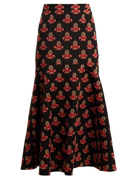 Temperley London skirt midi skirt midi jacquard floral black