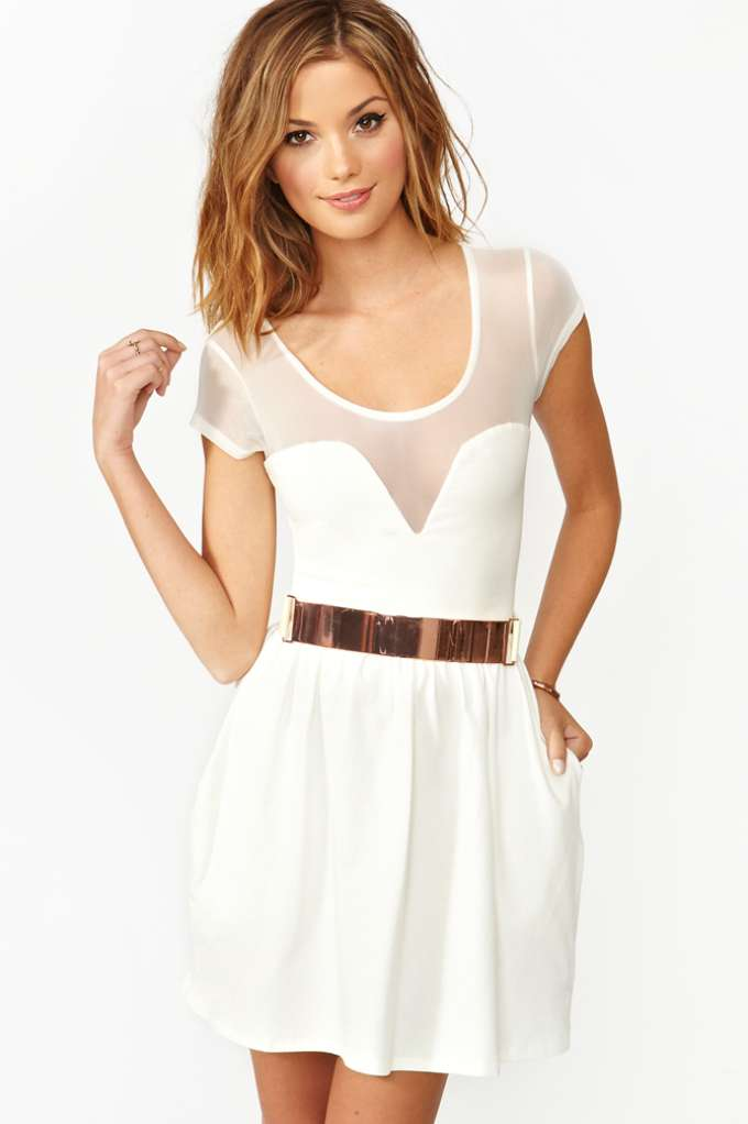 Mesh Skater Dress - White | Shop Clothes at Nasty Gal